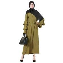 Babalet Womens' Elegant Modest Muslim Islamic Full Length O-Neck Ruffle Sleeve Maxi Dubai Arab Dress Wrap Plus Size EID Ramadan