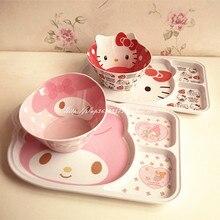 HALLO KITTY niedlichen kind Melody reisgericht, snack platte untergitter platte, melamin drei grid kunststoff tablett