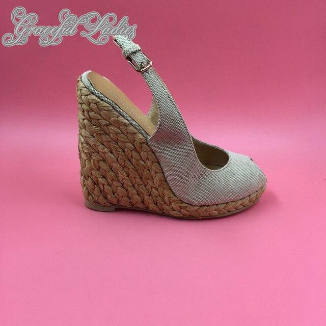 9695aeda35 Beige Canvas Sandal Women Shoes Wedge Heels Platform Peep Toe Slingbacks  Designer Sandals Summer Ladies Shoe Real Photo