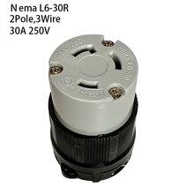 Prise de connecteur de verrouillage femelle industrielle Anti chute L6 30R Nema 2 pôles 3 fils fiche électrique 30A 250V