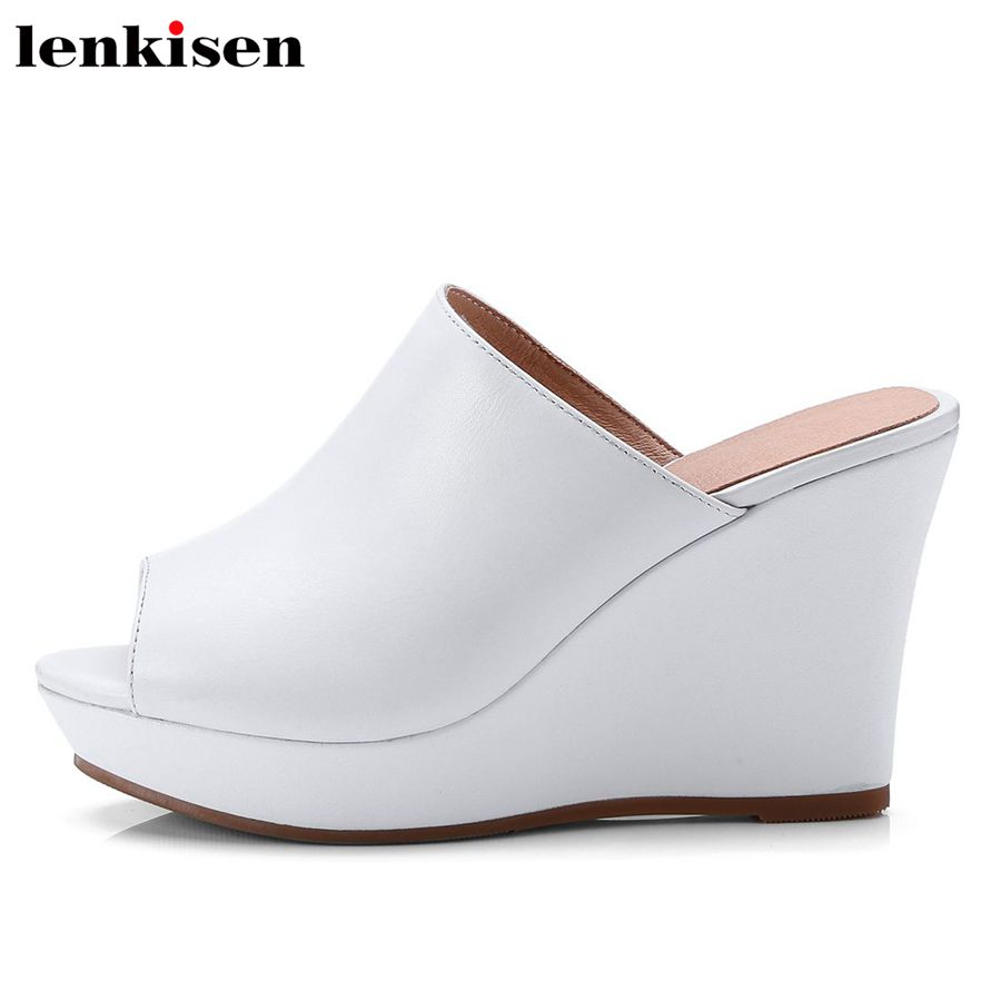 Lenkisen superstar peep toe slip on super high heel cow leather solid mules slingback office lady party leisure women pumps L3f1 peep toe high heel women pumps slingback
