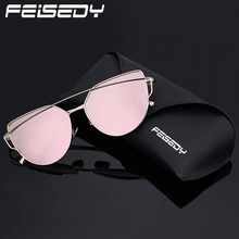 FEISEDY Fashion Polarized Sunglasses Women Brand Designer Vintage Cat Eye Sun Glasses Polarized Mirror Twin-Beams Shades Gafas