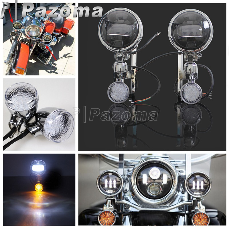Chrome Turn signal Auxiliary Lighting Brackets For Harley FLHX FLHXXX Road King