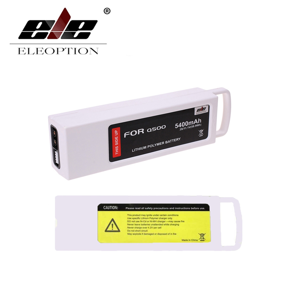 ELEOPTION High Quality New 5400mAh 11.1 Volt Li-po Battery For Yuneec Q500 Series RC Drone 11.1V 3S / 3-Cell 11.1V 2pcs high quality 4s full 5400mah 14 8v 79 92wh replacement lipo battery for yuneec typhoon h drone rc quadcopter