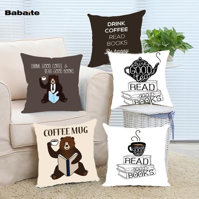 Babaite Drink Good Tea Read Good Books Custom Printed Christmas Fashion  Cartoon Throw Pillow Cover 2 Sides Print Pillowcase 773d731a3