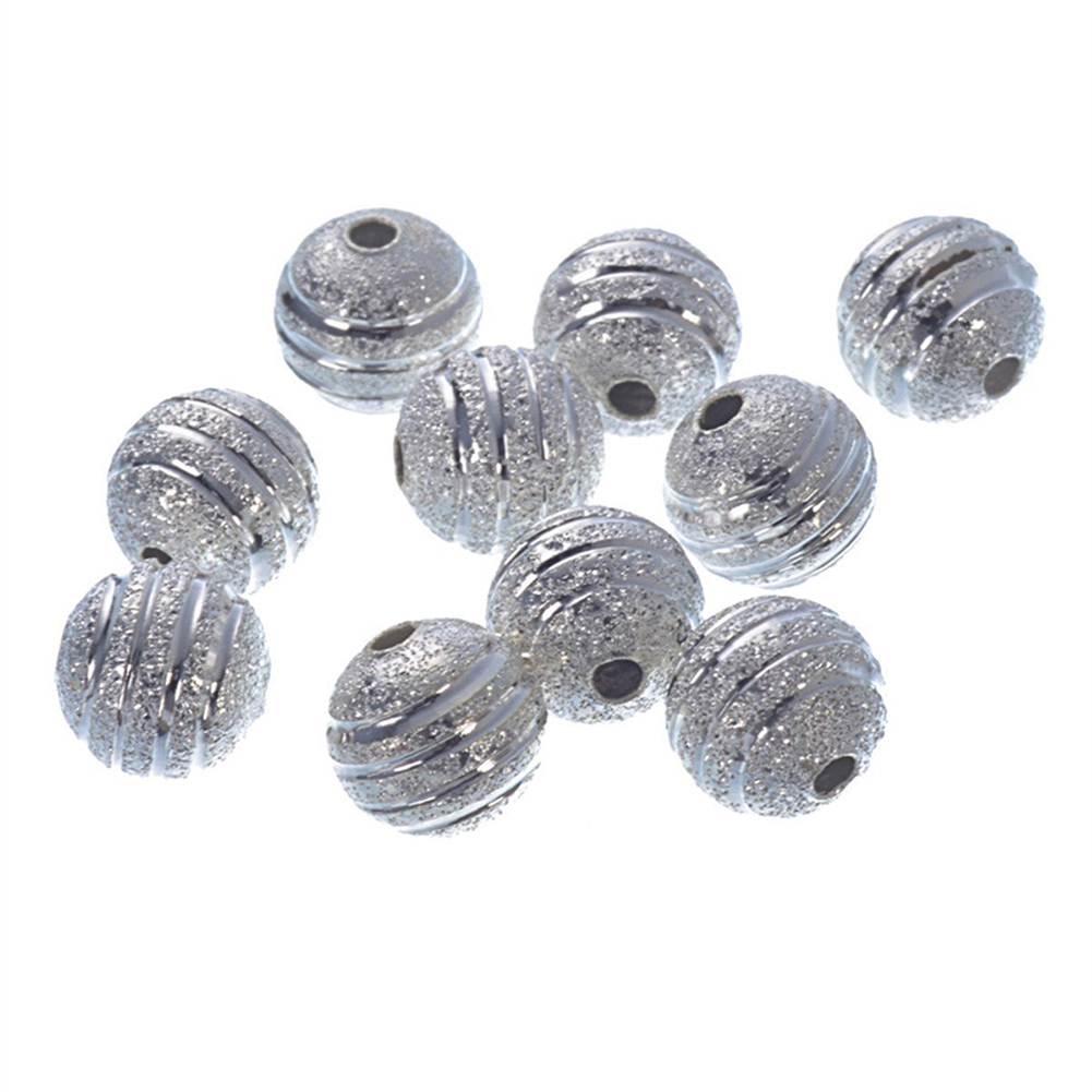 80 X SILVER PLATED Frosted SPACER BEADS 8 MM Crafts Jewellery Making Beads font b Fashion
