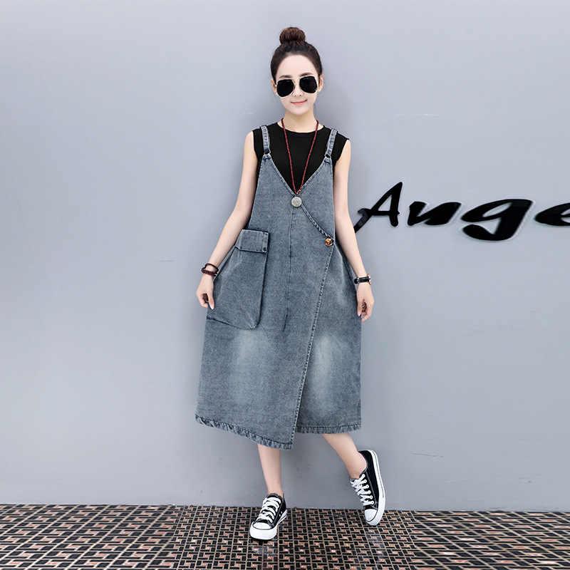 Voobuyla/джинсовое платье на тонких бретельках с карманами летнее стильное джинсовое платье свободного кроя джинсовый сарафан с подтяжками