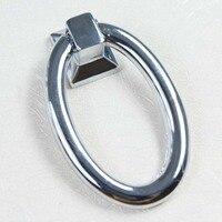 10pcs 42mm Modern Simple Fashion Elipso Shaky Drop Rings Furniture Knob Silver Chrome Darwer Cabinet Dresser