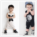 New 2016 Kids Clothes Baby Boys Girls Black Gray Rompers NO SLEEP Sleeveless Jumpsuit Infan Romper For Children Toddler Clothing