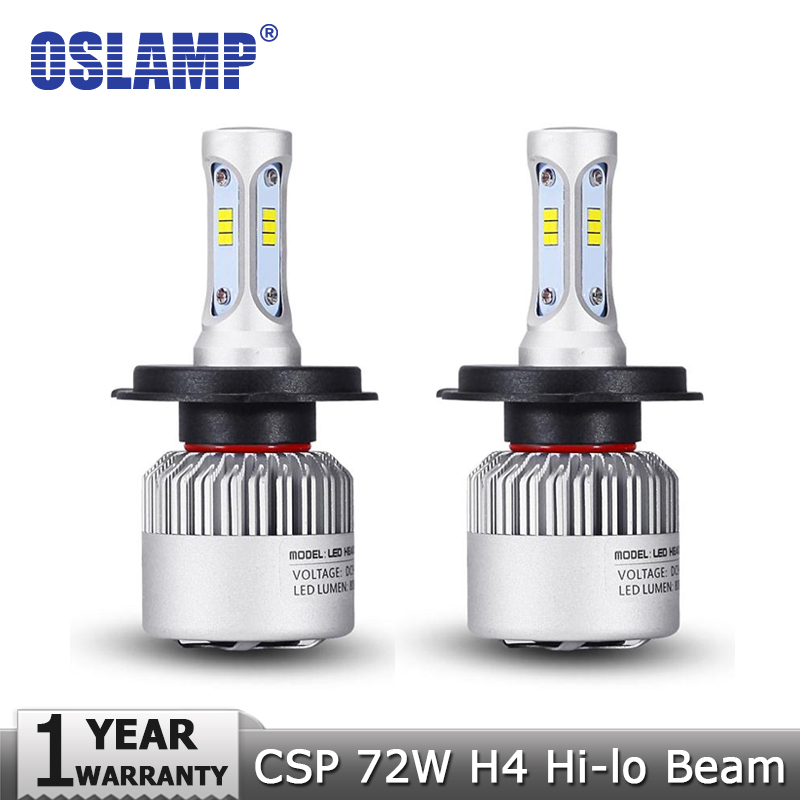 Oslamp H4 H7 H11 72W 8000lm 6500K CSP LED Car Headlight Bulb Hi Lo Beam Single