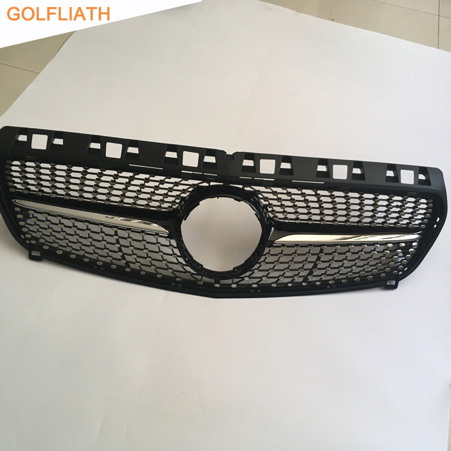 цена GOLFLIATH ABS Diamond Front Grill Grille for Mercedes Benz W176 A-CLASS A180 A200 A260 A45 AMG 2013 2014 2015