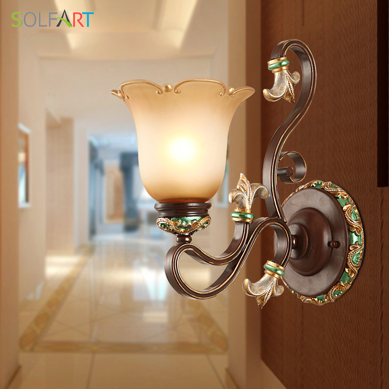 SOLFART sconces wall lamp arandela for home resin bronze color metal iron glass shade indoor bedside new classical wall lights tiffany baroque sunflower stained glass iron mermaid wall lamp indoor bedside lamps wall lights for home ac 110v 220v e27