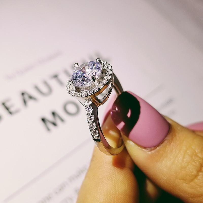 solid 925 Sterling Silver Halo Ring gul rosa för kvinnor Bröllop - Märkessmycken - Foto 2