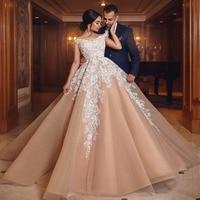 Арабское аппликации длинное праздничное платье для женщин вечерние платья Шампанское Вечерние vestido de festa Longo Robe De Soiree