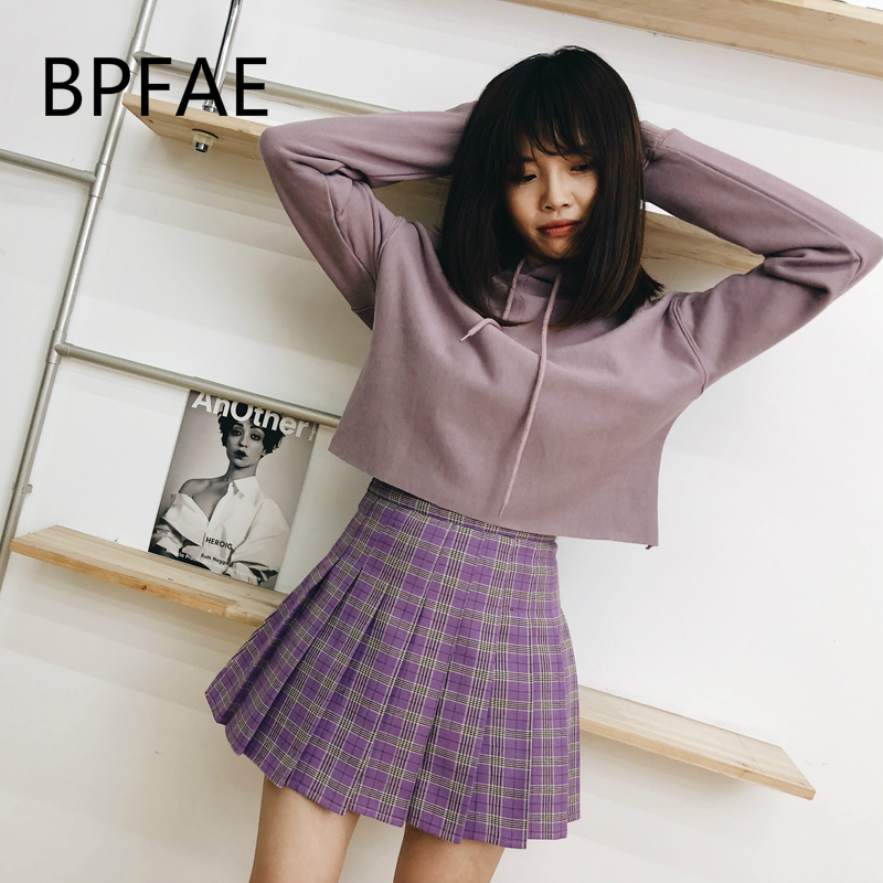 dbf67288a 2018 New Women Harajuku England Style Casual Purple/Green Pleated Skirt  Shorts Hot Sale High