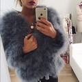 Wholesale price genuine ostrich fur coat hot selling natural turkey fur full sleeve coats cotton padding jackets for women