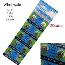 Vente en gros 20 cartes (10 pièces/lot = 1 cartes) 1.55V AG13 CX44 LR44W 357A Lithium bouton pile bouton piles pile alcaline