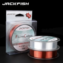 JACKFISH 100M Fluorocarbon fishing line 5-30LB Super strong brand Leader Line clear fly fishing line pesca(China)