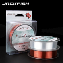 JACKFISH 100M Fluoro fishing line 5-30LB Super strong brand Leader Line clear fly fishing line pesca