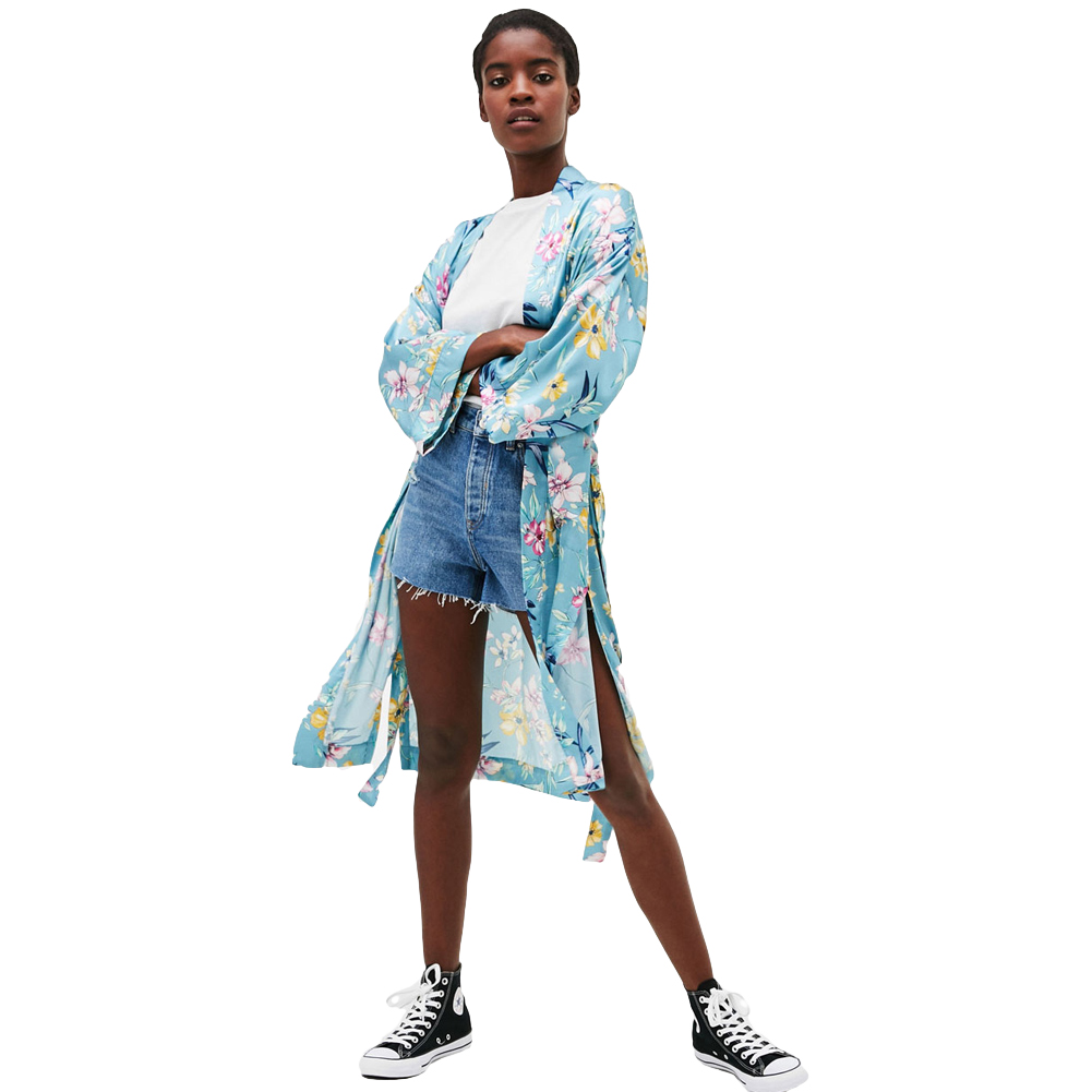 Blouses & Shirts Learned Anself Women Bikini Kimono Cardigan Floral Leaves Print Open Front Waist Tied Bow Maix Long Pareo 2019 Casual Tropical Cover Up Choice Materials