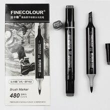 Finecolour EF102 นุ่มแปรง Professional Sketch Double Ended หมึกแอลกอฮอล์สีเทา Series 8 Markers ศิลปะสี