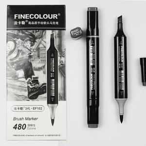 Image 1 - Finecolour EF102 Soft Brush Professional Sketch Double Ended Alcohol Based Ink Gray Series 8 Colors Art Markers