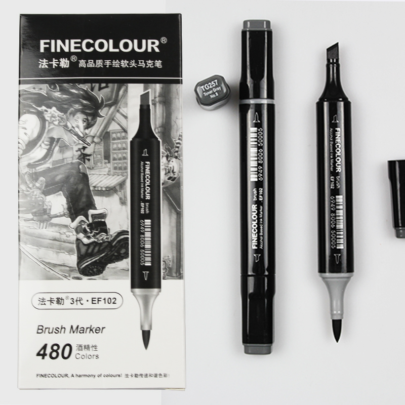 Finecolour EF102 Soft Brush Professional Sketch Double-Ended Alcohol Based Ink Gray Series Art Markers finecolour ef102 alcohol ink double headed soft brush marker pen red series drawing sketch art markers