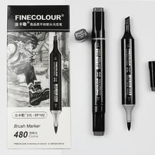 Finecolour ef102 escova macia esboço profissional duplo fim álcool baseado tinta cinza série 8 cores arte marcadores