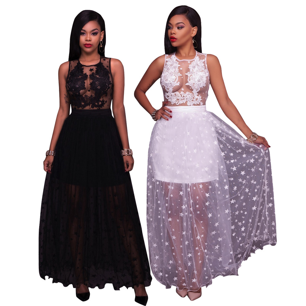 Adogirl Fashion Stars Sheer Mesh Flocking Lace Applique Maxi Dress 2017 Autumn Women Elegant Sleeveless Evening Party Dresses