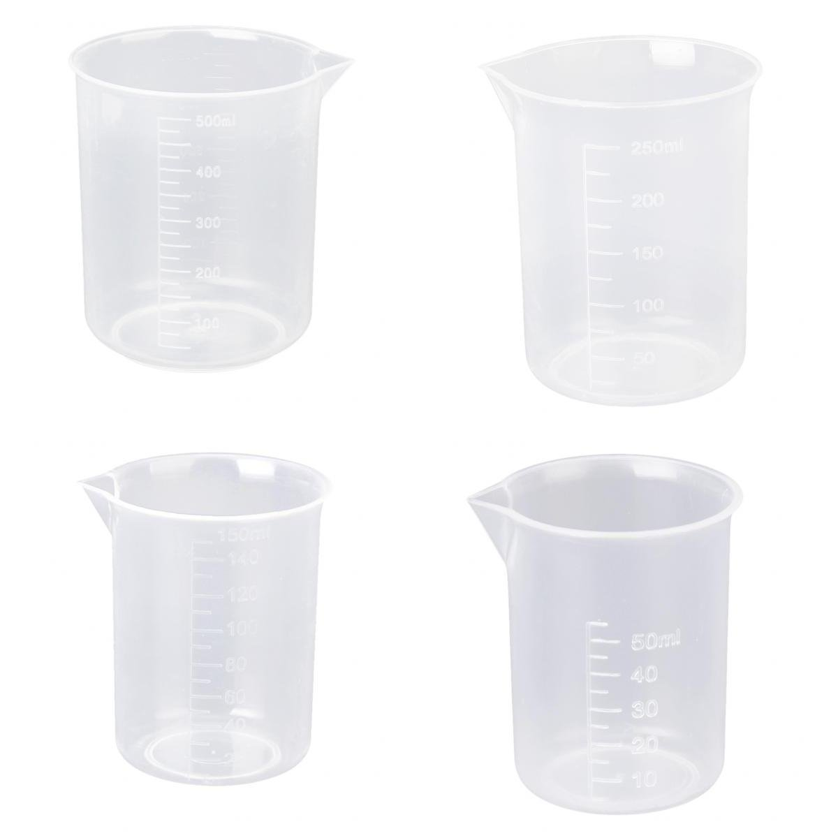 SOSW- 50 150 250 500 Ml Laboratory Transparent Plastic Measuring Cup 4 Pieces. Tool Measuring Cup