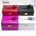 Stylish Atmosphere Queen Style Leather Jewelry Boxes With Flower Factory Outlets Fine Jewelry Boxes Jewelry Casket Free Shipping