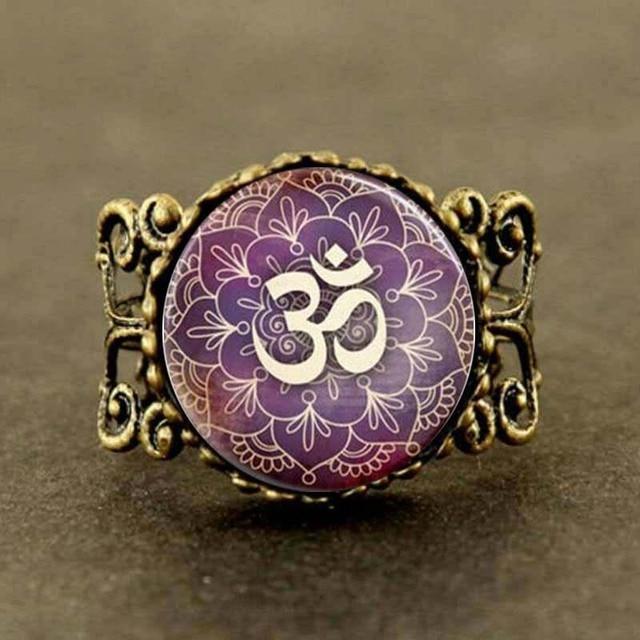 Steampunk om yoga jewelry purple lotus flower om symbol buddhism steampunk om yoga jewelry purple lotus flower om symbol buddhism zen art ring mightylinksfo