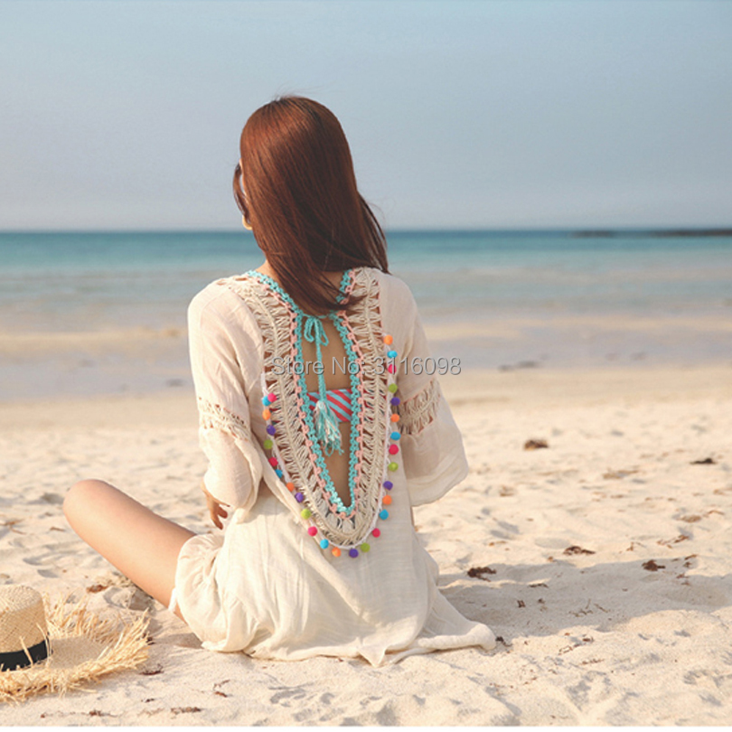 db1dc9cf95d8c Aliexpress.com : Buy Women Sexy Flounce Open Back Fringe Cover Up Tunic  Tassel Beach Cover Up Swimwear Bikini Cover Up Swim Beach Dress from  Reliable ...