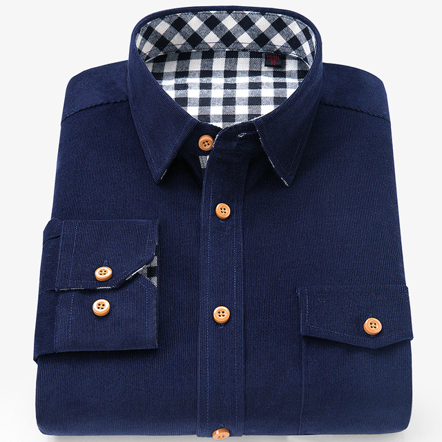 Brand 100% Cotton Corduroy Mens Dress Shirts Solid Color Men Thickening Long Sleeve Flannel Casual Shirt Men Camisa 1