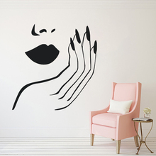 Lips and Nails Wall Decal Beauty Salon Decor Women Make Up Style Sticker Removable Vinyl Hands Mural AY1287