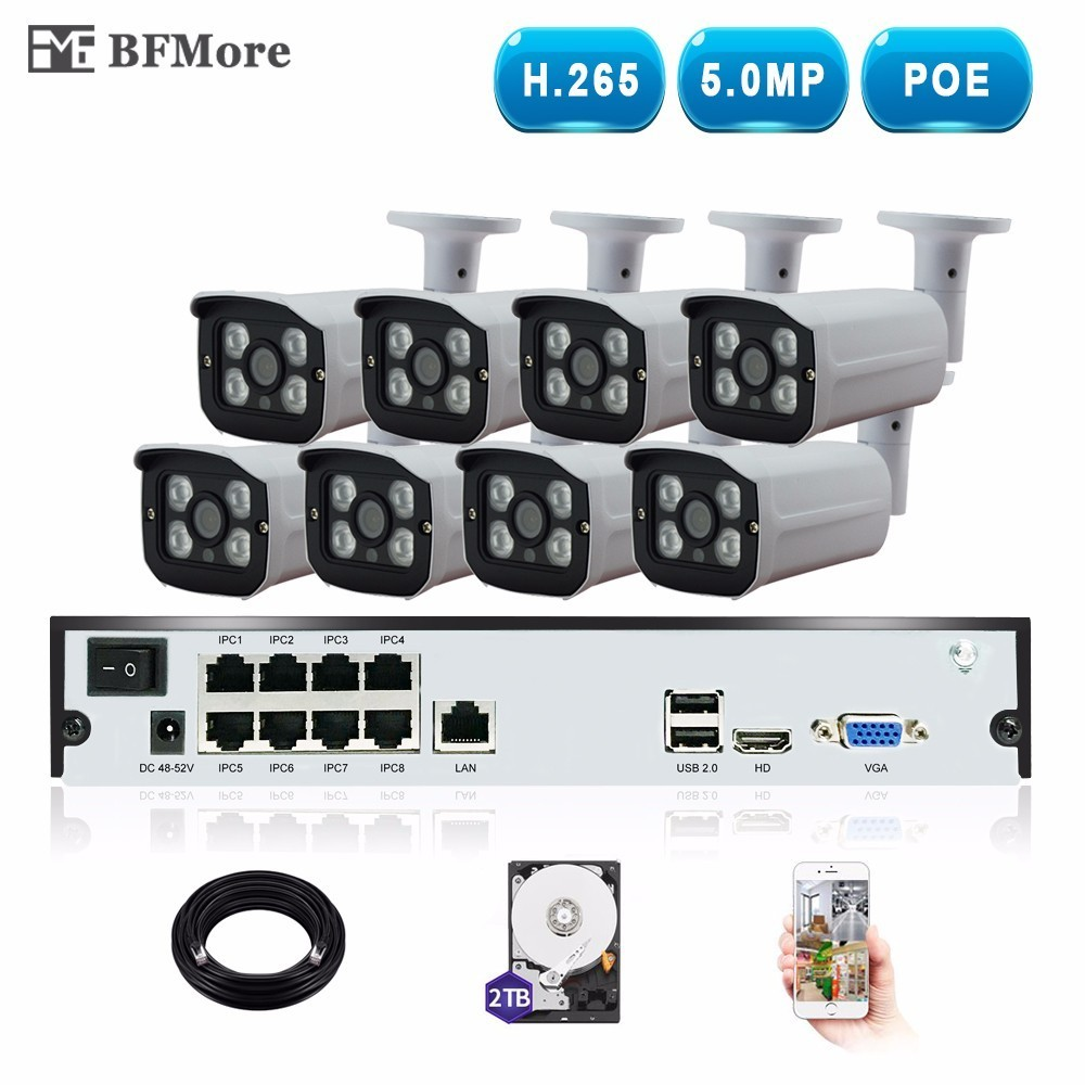 BFMore H.265 5.0MP POE 8CH NVR Kit Sistema TVCC IP macchina fotografica di IR IP66 Outdoor Intemperie di Video Sorveglianza di Sicurezza Set P2P allarme
