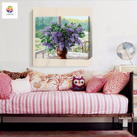 Frameless Lilac Flower Diy Digital Painting By Number Acrylic Paint Abstract Modern Wall Art Canvas Painting
