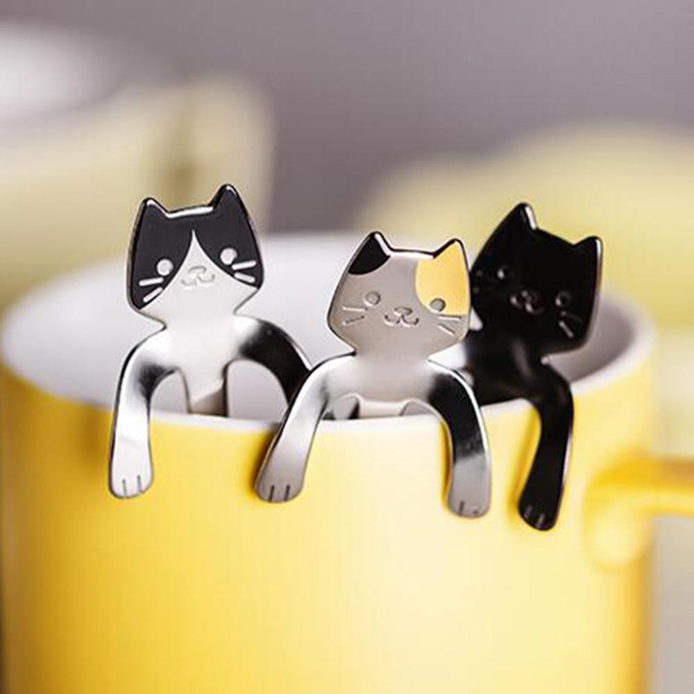 1Pc Kids Stainless Steel Cartoon Cat Spoons Feeding Tableware  Ice Cream Dessert Rice Fruite Long Handle Milk Tea Spoon