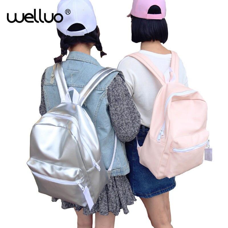 Hologram Laser Backpack Girl School Bag Women Pink White Simple Metallic Silver Laser Holographic Backpacks Solid Color XA863B