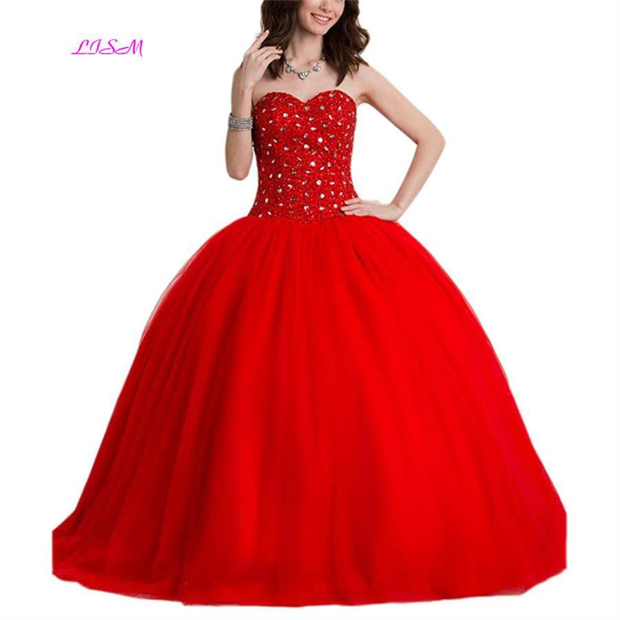 LISM Beading Sweetheart Long Quinceanera Dress Ball Gown Empire ...