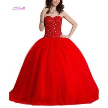 LISM Beading Sweetheart Long Quinceanera Dress Ball Gown Empire Prom Dresses vestidos de 15 Red Lace up Party