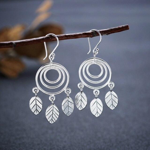 Silver Earrings Thailand Chiang Mai Original Handmade Jewelry Pendant Ear Hook Polycyclic Leaves