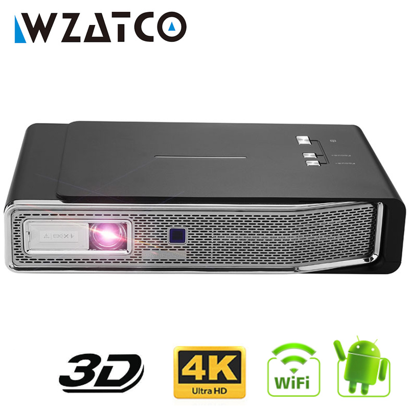 WZATCO C15 4 k MINI DLP 3D Proiettore Smart Android WIFI per Il Iphone Home Theater Beamer Full HD 1080 p 3LED lAsEr video Proyector