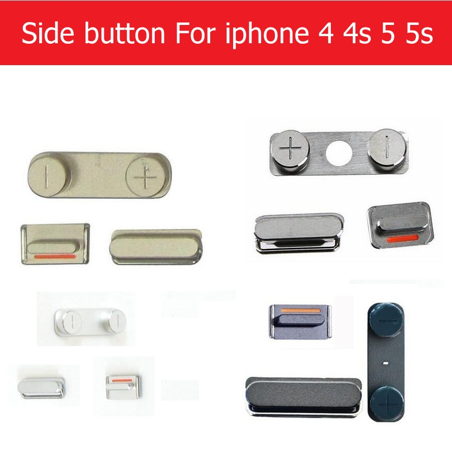1set (Power On Off + Volume Switch + Mute ) side Button for iPhone 4 4s 5 5S side keypads gold /silver /gray colors replacement