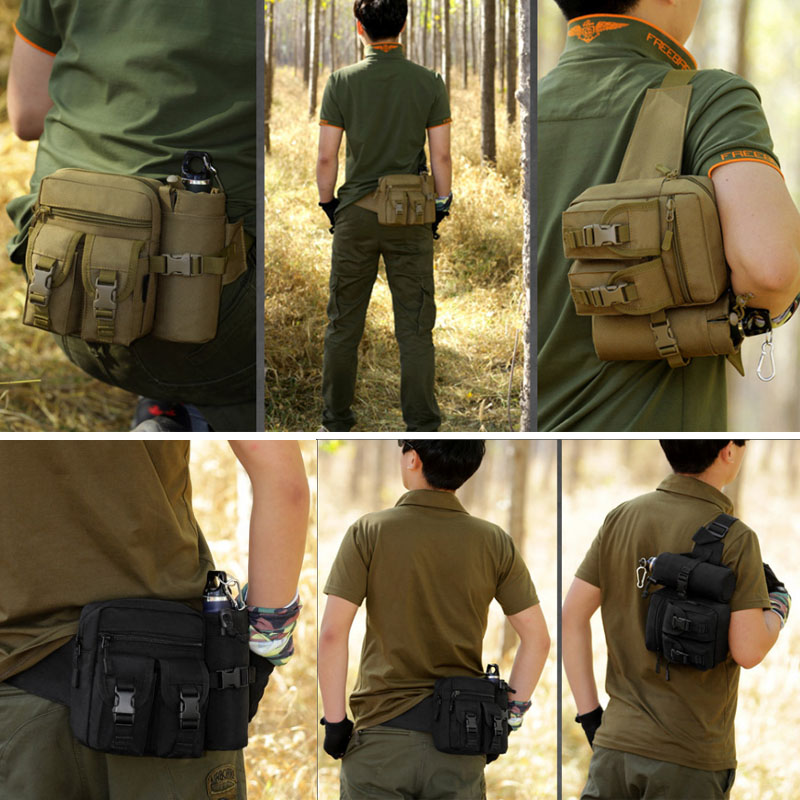 Military Tactical Waist Bag Molle Backpack Travel Bags Outdoor Camping Hiking EDC Nylon Hunting Water Bottle Tas Sports  XA580WA