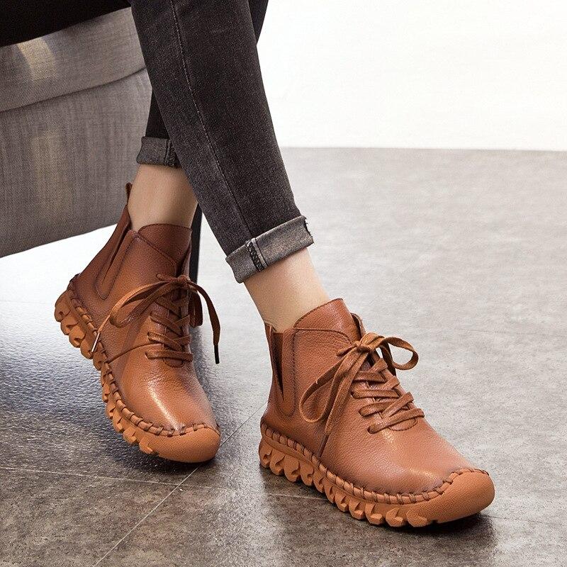 Bottes à lacets en cuir véritable pour femmes A518 nouveau 2018 mode décontracté Tube bas bout rond en cuir véritable chaussures d'hiver chaussures chaudes et épaisses