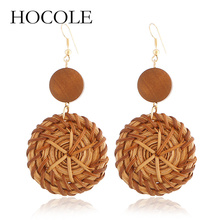 HOCOLE Bohemain Handmade Wood Jewelry 2018 Hollowed Big Circle Square Rattan Knit Long Drop Earrings For Women boucle doreille
