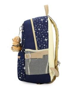 Image 3 - 3 adet/takım kadın sırt çantası okul çantaları yıldız baskı sevimli sırt çantaları ayı ile gençler kızlar için seyahat çantası sırt çantaları Mochila