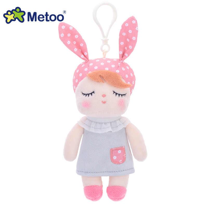 Metoo Doll doldurulmuş oyuncaklar peluş hayvanlar yumuşak bebek çocuk çocuk oyuncakları çocuklar için kız erkek Kawaii Mini Angela tavşan kolye anahtarlık