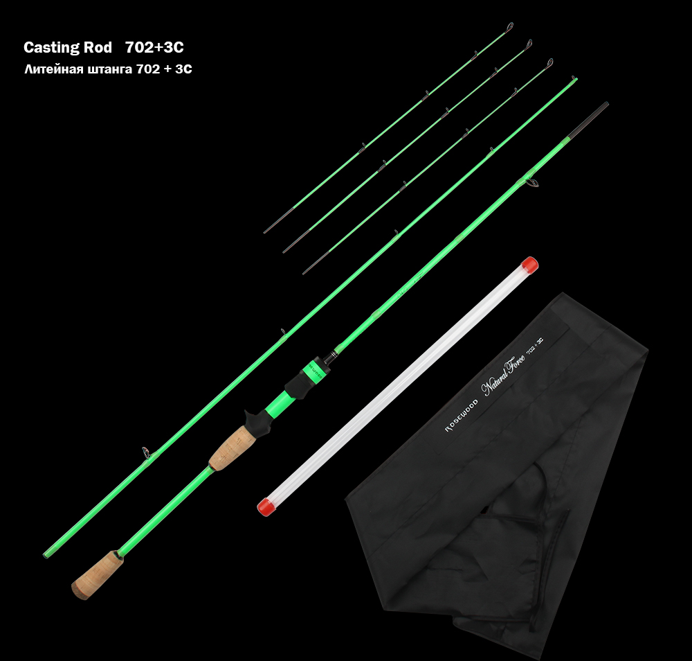 RoseWood Natural Force Series 2.1m High Carbon Cloth Fishing Rod 3 Tips L ML Medium Spinning Rod Casting Lure Rod 2 Sections  (8)